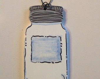 Personalized Hand Painted Wood Mason Jar Canning Country Chic Christmas Ornament Caffeine