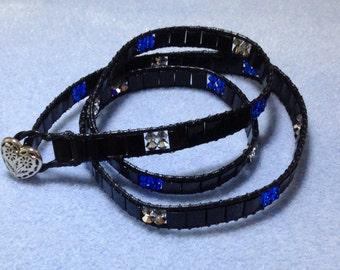 Sharon's Triple Wrap - Swarovski Crystal, Tila Bead, and Leather Bracelet