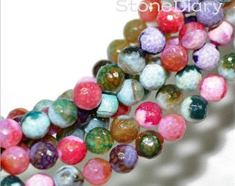 15.5 inch Colorful Candy Color Faceted Round Fire Agate Beads 10mm