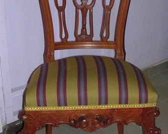 Antique restored chairs (2) ./Antique original textile