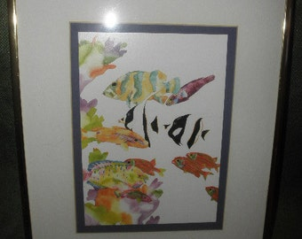 Windsor Watercolor Print  Fishes and Coral Reefs in Silver Frame