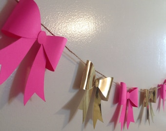 Pink and Gold Paper Bow Garland, Gold Mirror and Pink Paper Bow Banner, Photshoot Prop banner