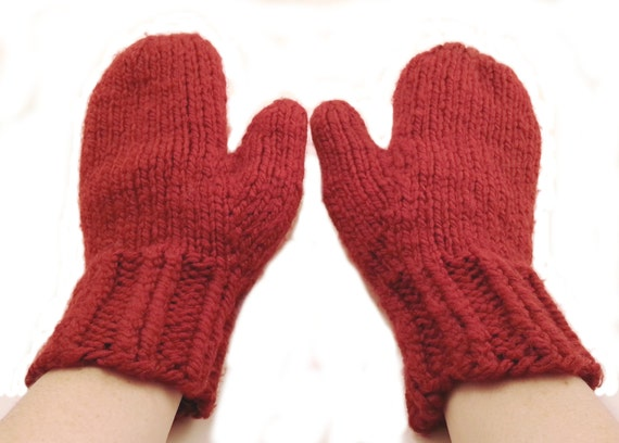 Chunky Knit Mittens Knit Mittens Wool Mittens by stayinstitches