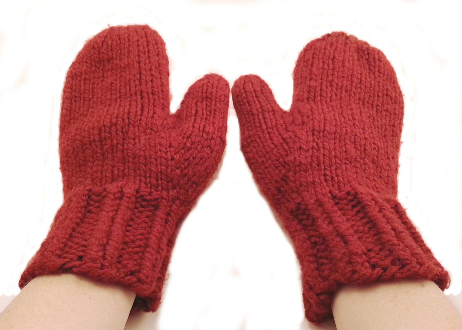 Knitting Mittens : Chunky knit mittens wool thick