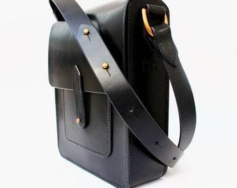 Hand Stitched Black Leather Half Satchel. Handmade veg tan British leather handbag. Can be personalised.