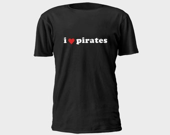 Mens Pirate T-Shirt - I Heart Pirates 2