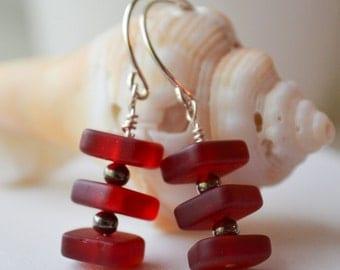 "Red ""Sea Glass"" Bead Earrings Handmade"