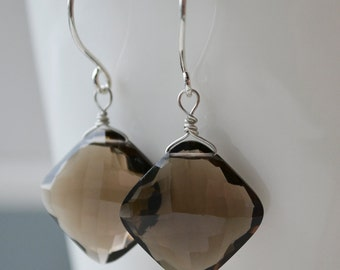 Unique Smoky Quartz and Sterling Silver Earrings Handmade Wire Wrapped