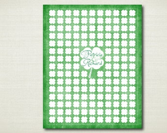 Irish Guest Book - Shamrock Wedding Guest Book Alternative - 145 Guests - Print