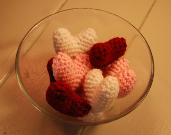 Plush Crochet Hearts, set of three