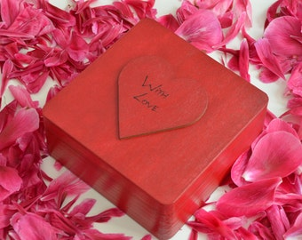 Lovely wooden box for your treasures with big red heart With Love 6.29 x 6.29 x 2.75inch(16x16x7cm)
