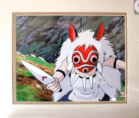 Princess Mononoke San With Mask Animation Cel Double Matted