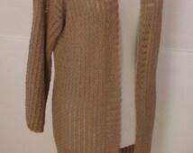 beige cardigan , (coffee with milk) lace cardigan , crochet cardigan ,long cardigan, beige jacket. spring to summer size: Small - Medium