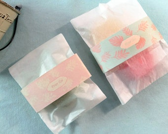 Gift deco label - palm leaf-10PCS - pink / green-gift wrapping-table decor-soap packing-cookies decor
