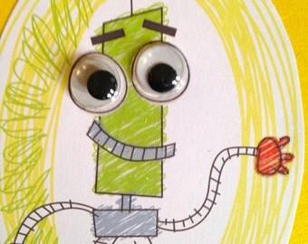 Googly-eyed robot Card