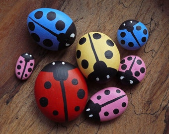 Hand Painted Ladybird Pebbles