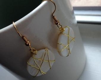 Handmade Gold Wire Wrapped Ivory Shell Drop Earrings - Dangle Earrings - Beach Earrings - Resort Earrings - Boho Earrings - Free US Shipping