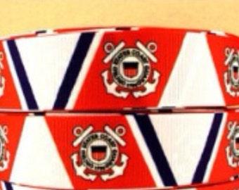 5 Yards of 1 Inch Coast Guard Grosgrain Ribbon