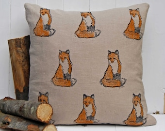 Fox Cushion Cover, Hand printed, Red and Natural Linen