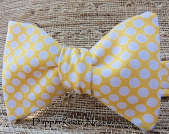 Men's Yellow Bow Tie with White Polka Dots