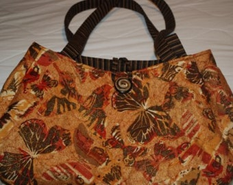 Golden Butterfly Quilted Purse