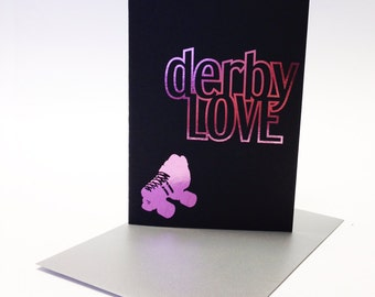 Roller derby greetings card - derby love, black card with pink foi