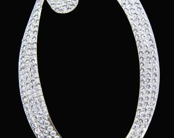 "Crystal Rhinestone Covered Silver Monogram Wedding Cake Topper Letter ""O"""