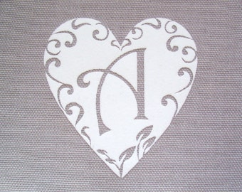 Iron on Heart appliqué with the letter of your choice