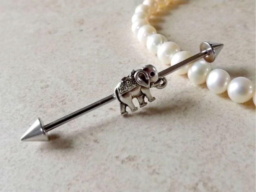 Industrial Barbell Tiny Elephant Body Jewelry Ear Jewelry