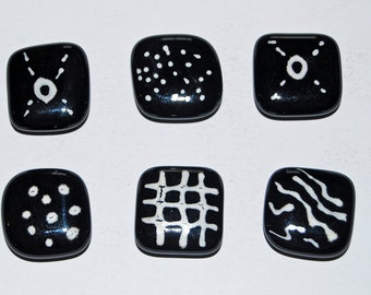 6 Black and White Handmade Fused Glass Magnets