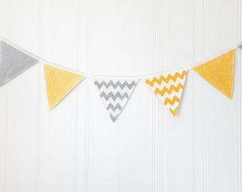 Banner, bunting, garland, yellow and grey baby shower bunting, chevron nursery bunting, photo prop