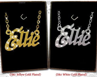 Name Necklace Ellie - 18K Gold Plated, Czech Rhinestones