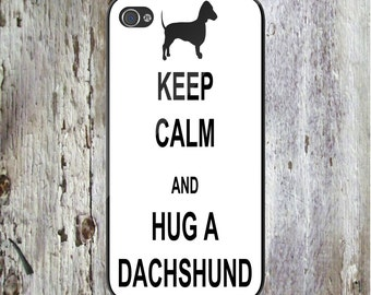Keep Calm and Hug a Dachshund Dog Personalized Phone Case iPhone 6/6S, iPhone 5/5S, iPhone SE, Samsung iPhone7 iPhone 7