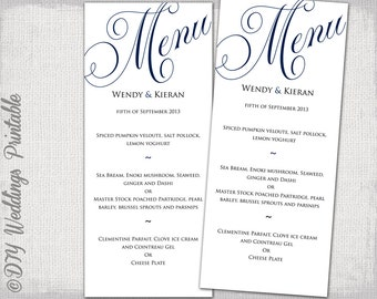 "Wedding menu template navy blue wedding menu DIY wedding menu template ""Parfumerie"" navy digital printable menu -EDITABLE instant download"