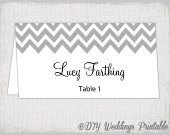 "Place card template ""Chevron"" Mercury Gray name cards DIY wedding printable place cards / table cards YOU EDIT Word /Jpg Avery 5302 download"