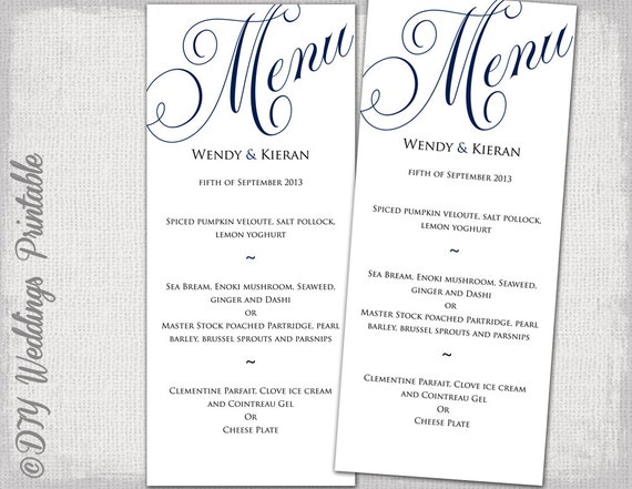 Wedding menu template navy blue wedding menu diy wedding menu for Menu templates for weddings