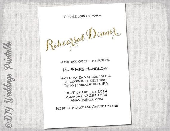 rehearsal dinner invitation template gold glitter, Quinceanera invitations
