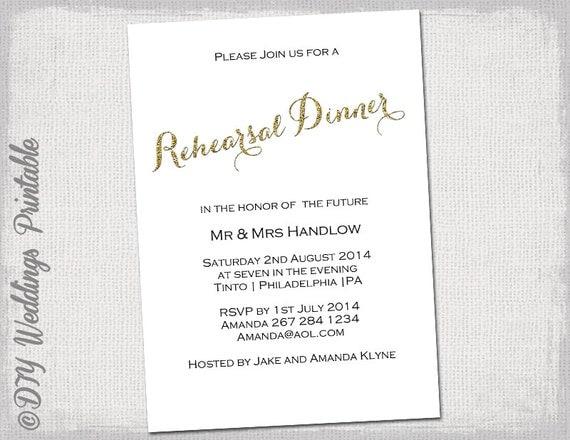 Rehearsal Dinner invitation template Gold glitter