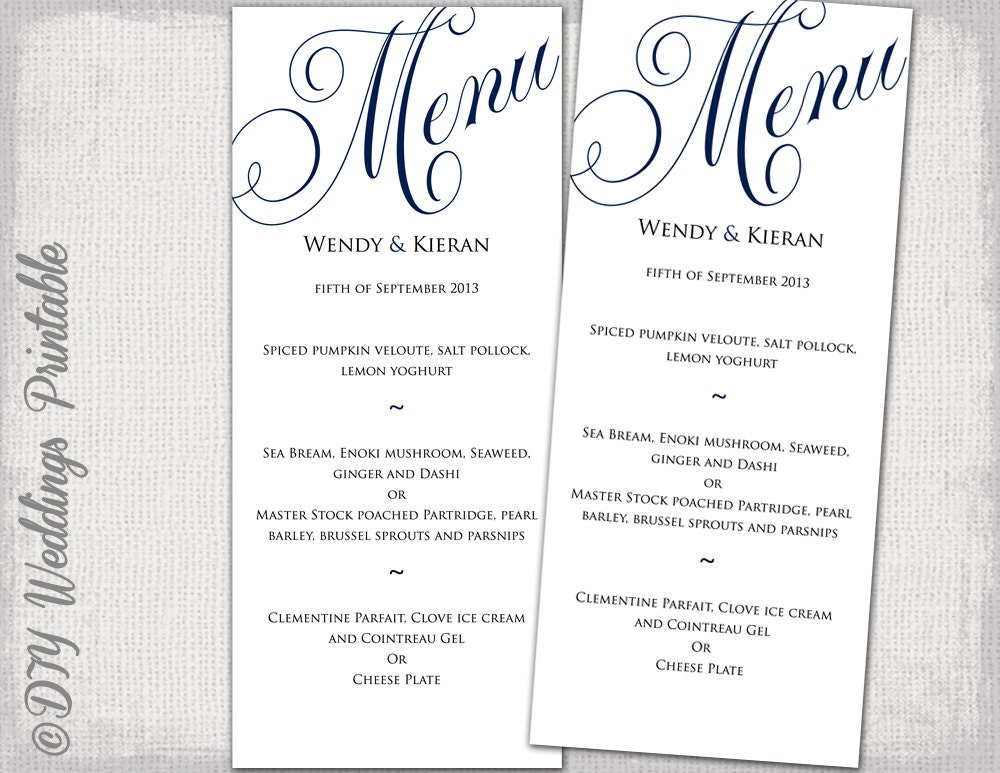Wedding menu template navy blue wedding menu diy wedding menu for Free wedding menu templates