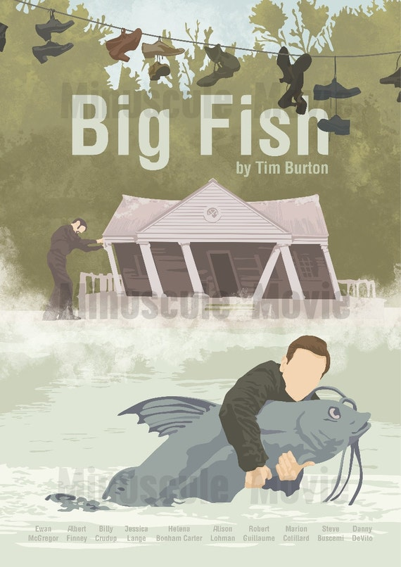 Big fish print poster tim burton a3 by minusculemotion on etsy for Big fish printing