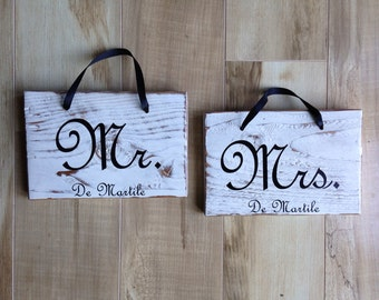 Mr. & Mrs. Personalized Signs - Distressed Antique White