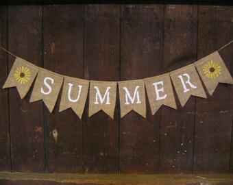 Summer Banner, Summer Bunting, Summer Garland, Home Decor, Summer Decor, Burlap Banner, Burlap Bunting, Photo Prop, Rustic, Burlap garland