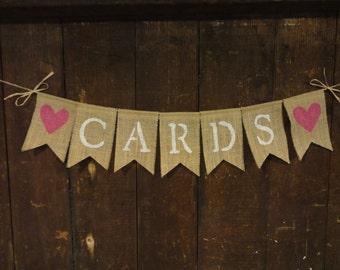 Cards Burlap banner, Cards Garland, Cards Bunting, Burlap Banner, Wedding Decor, Bridal Shower, Birthday Anniversary Decor, Cards Sign