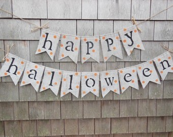 Halloween Decor, Happy Halloween Banner, Burlap Banner, Halloween Garland, Burlap Garland Bunting, Happy Halloween Bunting