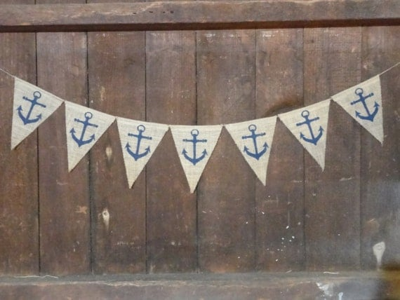 Nautical Anchor Burlap Banner, Baby Boy Banner Bunting, Baby Garland, Shower Decor, Nursery Decor, Burlap Banner, Photo Prop, Wedding Decor