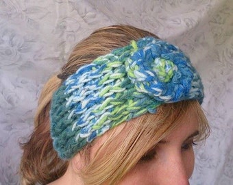 Knit Headband, Handmade Boho Blue and Green Knit Headband