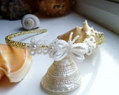 Cute Gold Cream Pearl Handmade Flower and Butterfly Bridesmaid Tiara