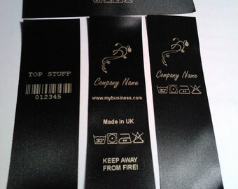 100 Black fabric care labels, Gold print