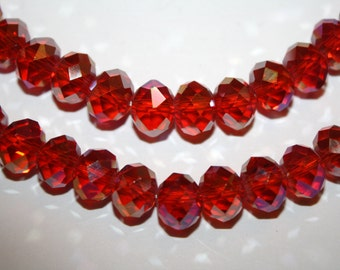 Red Faceted Rondelle Crystal Glass Beads - 8x10mm - 30ct - D189