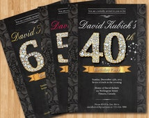 40th birthday invitation. Adult birthday invitation. Surprise Party. Any Age. Black and gold diamond number. Chalkboard. Printable digital.